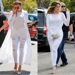 Frame Le Skinny De Jeanne Ripped Jeans Blanc